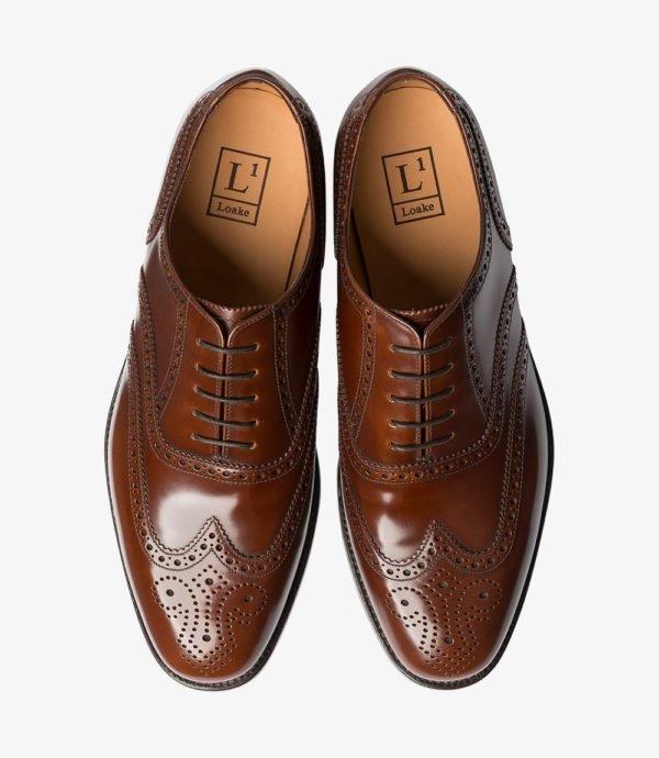 Oxford brogue batai rudi prie kostiumo
