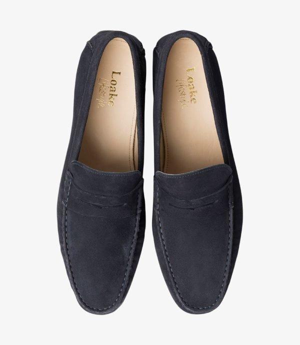 Loake Goodwood mėlyni vyriški zomšiniai batai vasarai