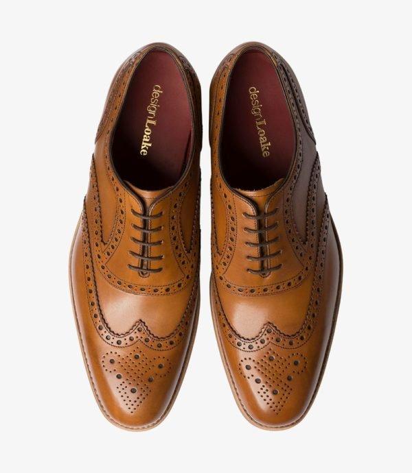 Loake Kerridge šviesiai rudi vyriški odiniai batai prie kostiumo 2