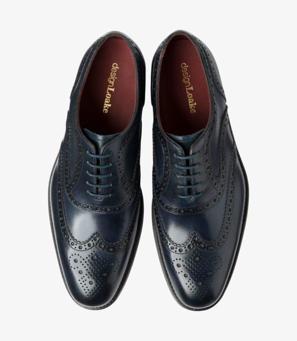 Loake Kerridge mėlyni vyriški odiniai batai prie kostiumo 2