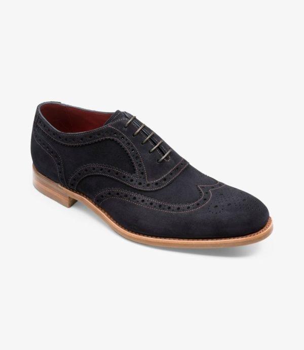 Loake Kerridge mėlyni vyriški zomšiniai batai prie kostiumo 1
