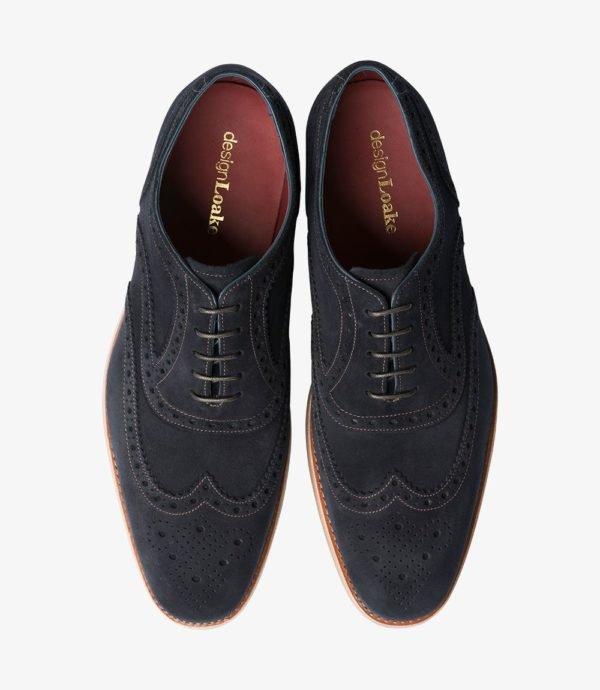 Loake Kerridge mėlyni vyriški zomšiniai batai prie kostiumo 2