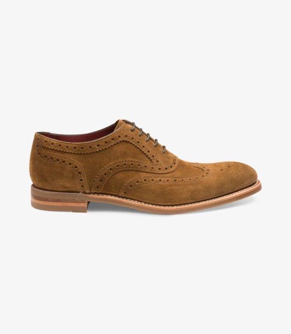 Loake Kerridge rudi vyriški zomšiniai batai prie kostiumo