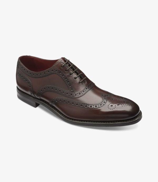 Loake Kerridge tamsiai rudi vyriški odiniai batai prie kostiumo 1