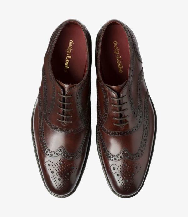 Loake Kerridge tamsiai rudi vyriški odiniai batai prie kostiumo 2