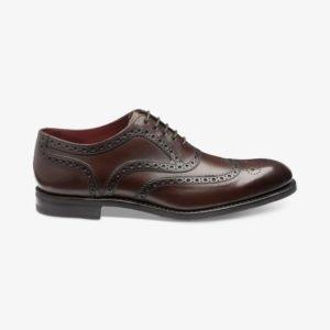 Loake Kerridge tamsiai rudi vyriški odiniai batai prie kostiumo